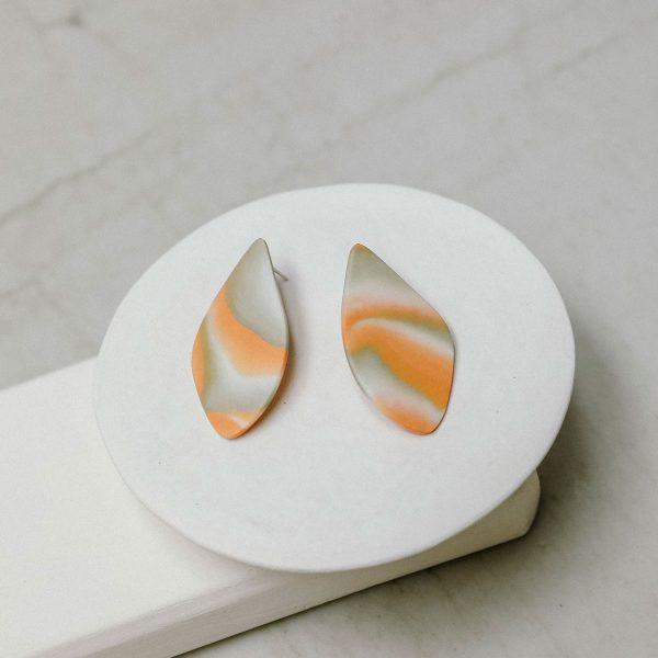 Pendientes de porcelana y plata
