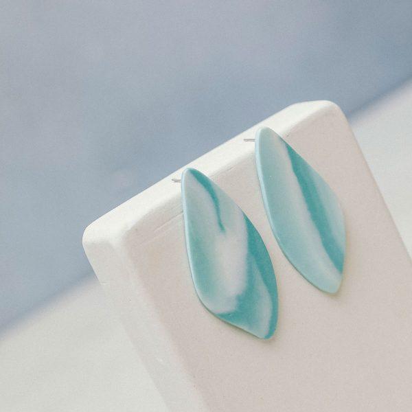 Pendientes grandes de porcelana azul