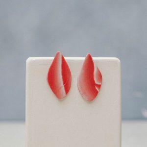 Pendientes de porcelana en rojo
