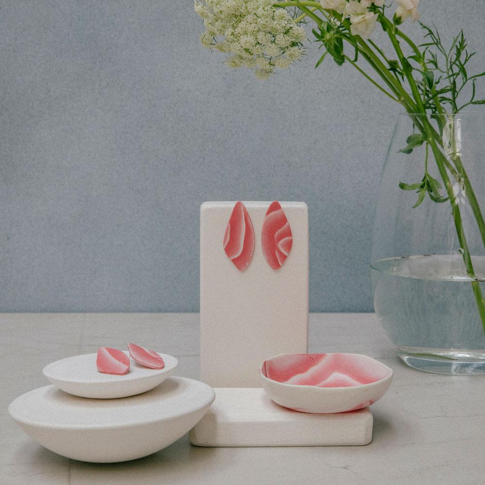 pendientes de porcelana roja